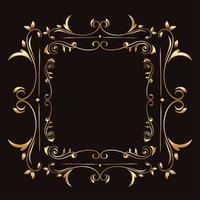 gold ornament frame on blue background vector design
