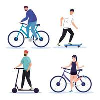 people with bike scooter and skate vector design