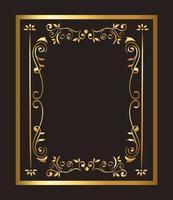gold ornament frame on black background vector design