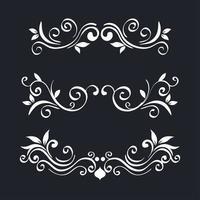 white ornament element icon set on blue background vector design