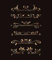 gold ornament element icon set on black background vector design