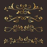 gold ornament element icon set on gray background vector design