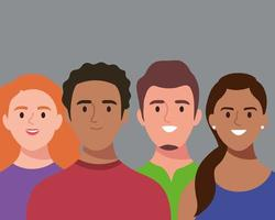 group of four persons avatars characters vector