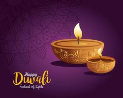Happy diwali diya candles with mandala on purple background vector design