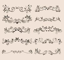 black ornament element icon set on isolated background vector design