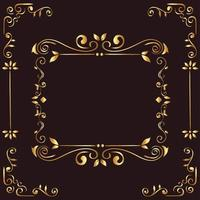 gold ornament frame on brown background vector design