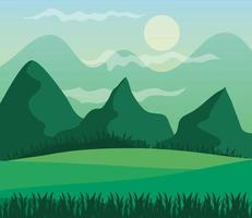 landscape of mountains and sun on green background vector design