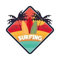 surfeando tablas de surf tropicales vector