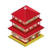 pagoda building isometric vector
