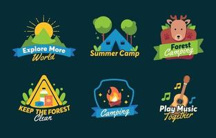 Summer Camp Activity Stickers Collection vector