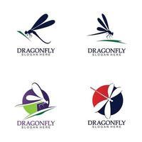icono de vector de logo de libélula