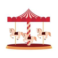 amusement park carnival carousel with horses isolated design vector