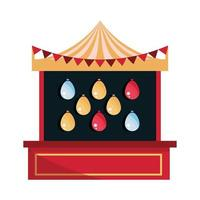amusement park carnival shooting game with targets balloons booth isolated design vector