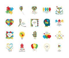 set autism awareness day puzzles head child heart hand balloon ribbon and bulb icon vector