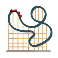 amusement park carnival roller coaster isolated design vector