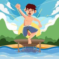 natación de campamento de verano vector