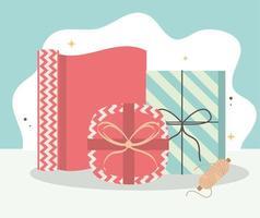 envolver cajas de regalo vector