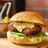 Vegetarian veggie burger close up photo
