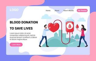 Blood Donation Landing Page vector