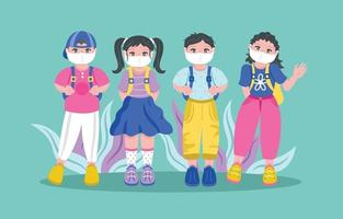 Back to School with Mask Character Template vector