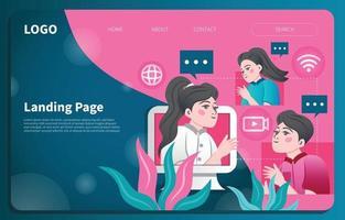Virtual Meeting Landing Page Template vector