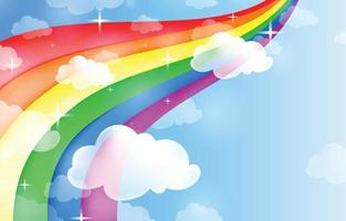 Rainbow with Clouds Background Template vector
