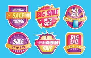 Sale Banner Sticker Template Set vector