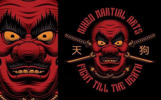 diseño de camisa colorida máscara tengu japonesa vector