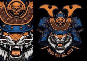 Colorful shirt print of a tiger samurai vector