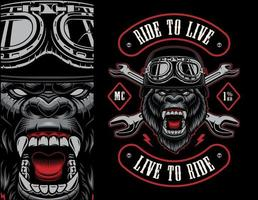 Colorful biker patch with a gorilla biker vector