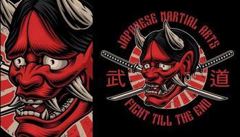 Japanese Oni demon shirt design vector