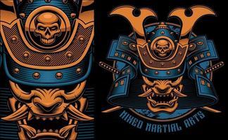 colorida ilustración vectorial de una máscara de samurai vector
