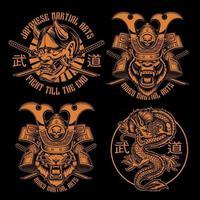 Black and white samurai shirt designs vector