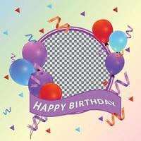 happy birthday frame for social media post template vector