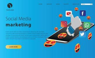 social media marketing illustration with icon and smartphonee vector