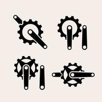 vintage crank set logo icon illustration Premium vector