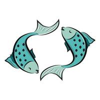 Pisces Horoscope Zodiac sign Pair of blue fishes vector