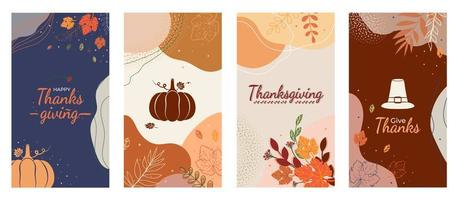 Thanksgiving social media abstract  fall leaves background vector