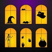 Halloween windows in house vector