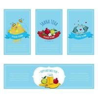 Rosh Hashana Greeting card and labels with symbols of Jewish holiday vector