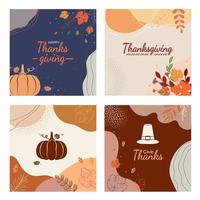 Thanksgiving abstract autumn leaves background for social media vector