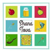 Shana Tova Card with Icons Of Rosh Hashanah Jewish New Year vector