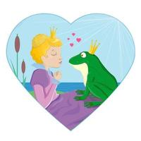 Princess kissing a frog with crown vector illustration