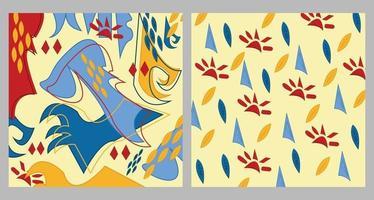 dos patrones sin fisuras en la misma paleta de colores rojo azul y amarillo colección de cultura de la jungla étnica abstracta tribu patrones artísticos tribales fondo crema amarillo vector