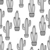 Seamless pattern with potted cactus Vector outline illustration drawings For design packaging textile background design postcards and posters
