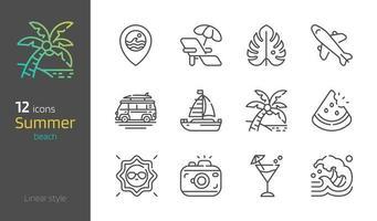Summer beach thin linear icon set vector illustration