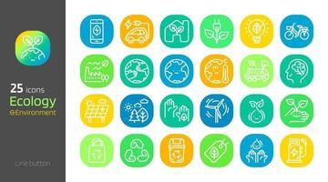 Ecology line icon button set vector