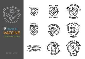 Covid 2019 Corona virus vaccination sign linear style vector