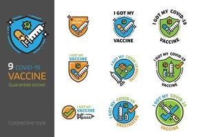 Covid 2019 vaccination sign colored line style vector