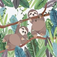 Cute a couple sloth in botanical tropical forest vector